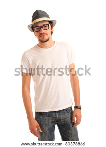 Handsome young man with hat rests on suitcase isolated on white background - stock photo