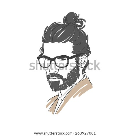 Handsome young man with long hair and glasses hand drawn illustration. Rasterized copy - stock photo