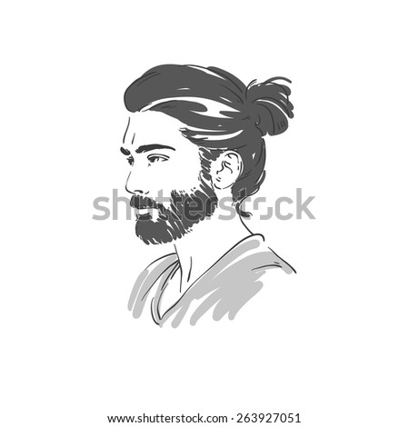 Handsome young man with long hair hand drawn illustration. Rasterized copy - stock photo