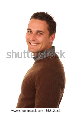 Handsome young man with nice smile dressed in brown jersey
