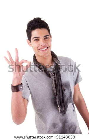 Handsome young man with positive attitude. Isolated on white background. Studio shot. - stock photo