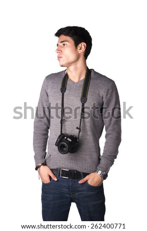 Handsome young man with professional photo camera hanging from his neck, isolated on white - stock photo