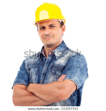 Handsome young man with protective helmet on his head and arms crossed, isolated on white background - stock photo