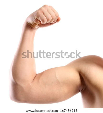 Handsome young muscular sportsman, isolated on white