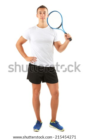 Handsome young sportsman holding racket isolated on white - stock photo