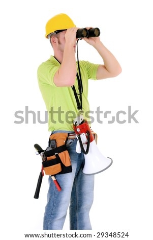 Handsome young successful construction supervisor with megaphone, white background