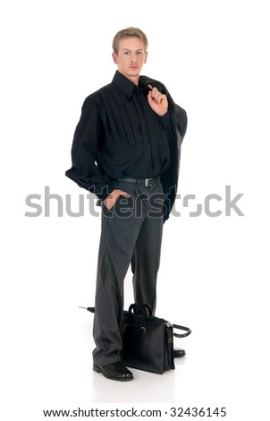 Handsome young successful fashionable businessman, white background,  studio shot.