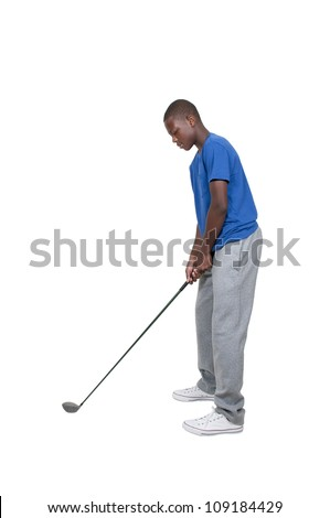 Handsome young teenage black African American golfer - stock photo