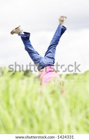 handstand - stock photo