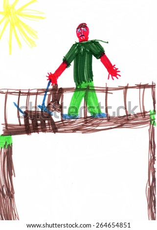 Handwork. Children's drawing. The man on the bridge with a dog. - stock photo