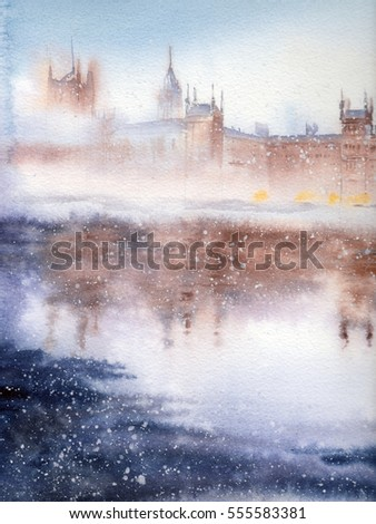 Handwork watercolor illustration. London.Winter landscape.