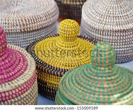Handwoven African Baskets - stock photo