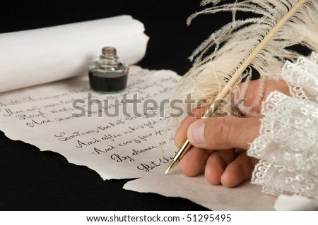 Handwriting a poem on old paper scroll. Text is from Shakespeare's Sonnet 18. - stock photo