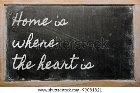 handwriting blackboard writings - Home is where the heart is - stock photo