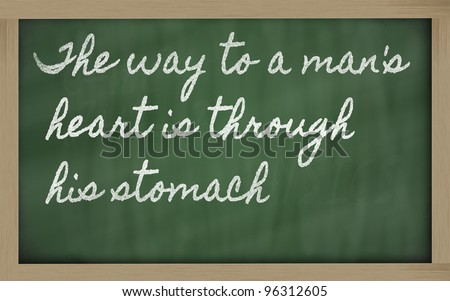 handwriting blackboard writings - The way to a man's heart is through his stomach