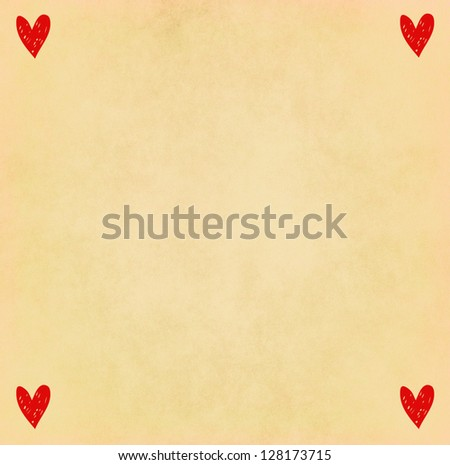 Handwriting heart shape on old paper - stock photo