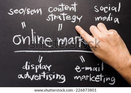 Handwriting of Online Marketing concept with hand point at the Content Strategy topic