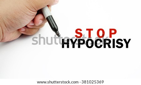 "Handwriting of word  "" stop hypocrisy """