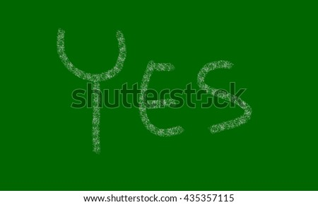handwriting on a blackboard green and marked with chalk - stock photo