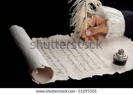 Handwriting with feather pen on antique scroll paper. Text is from Shakespeare's Sonnet 18. - stock photo