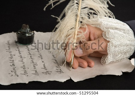 Handwriting with feather pen on old paper. Text is from Shakespeare's Sonnet 18. - stock photo