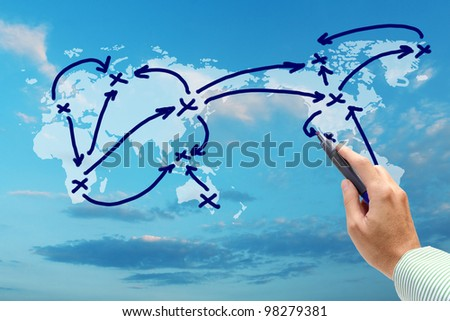 handwritten a social network scheme on blue sky - stock photo