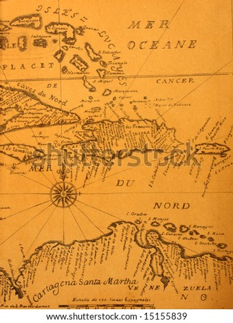 Handwritten ancient map of Caribbean basin from the book of 1678 - stock photo