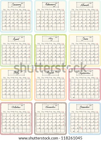 2013 calendar by month