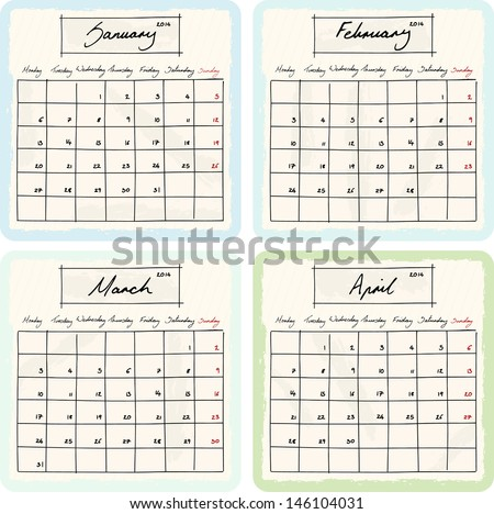 Handwritten 2014 Calendar with grunge Elements. Months January, February, March and April. Raster Version. - stock photo