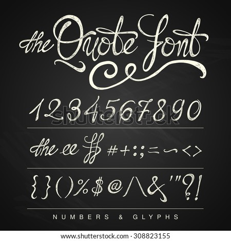 Handwritten calligraphy quote font - numbers, white on the blackboard background - stock photo