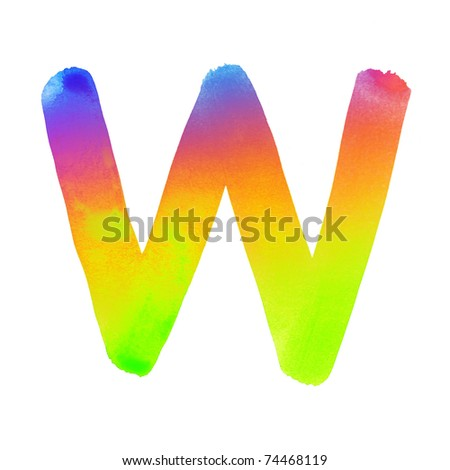 Handwritten colorful watercolor alphabet, isolated. W - stock photo