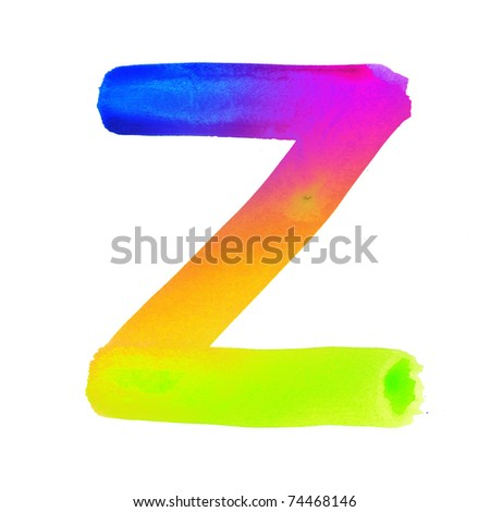 Handwritten colorful watercolor alphabet, isolated. Z