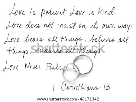 handwritten Corinthians 13 - stock photo