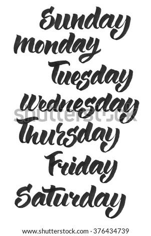 Handwritten days of the week: Monday, Tuesday, Wednesday, Thursday, Friday, Saturday, Sunday. Black ink calligraphy words isolated on white background. - stock photo