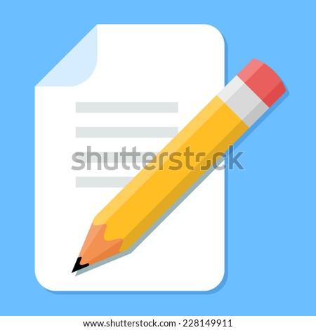Handwritten Document. Flat Design icon - stock photo