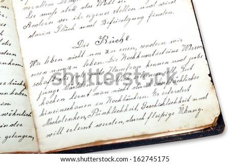 Handwritten guidebook, cookery book in german - stock photo