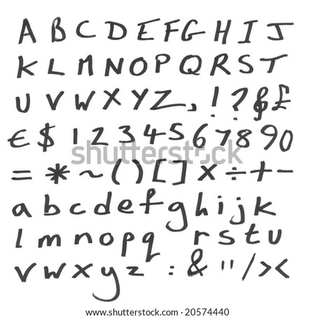 Handwritten letters, numbers and symbols. Ideal font for grunge design - stock photo