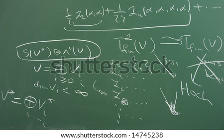 Handwritten mathematical formulas on green blackboard, high school and scientific level