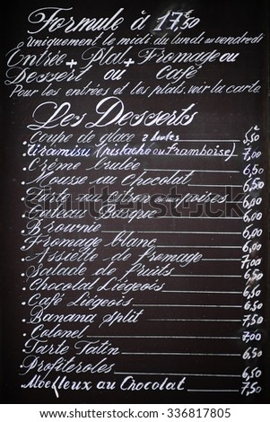 Handwritten menu in France restaurant  - stock photo