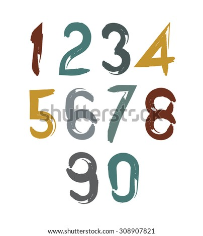 Handwritten numbers isolated on white background, painted modern numbers set. - stock photo