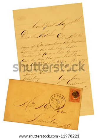 Handwritten original 1865 letter and envelope with 3 cent George Washington stamp.