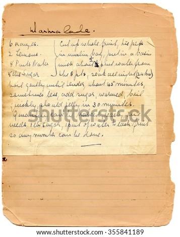 Handwritten recipe - stock photo