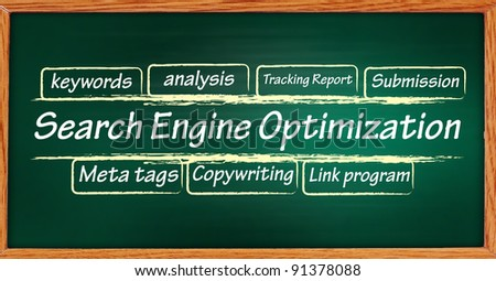 handwritten SEO flow chart on a blackboard. - stock photo