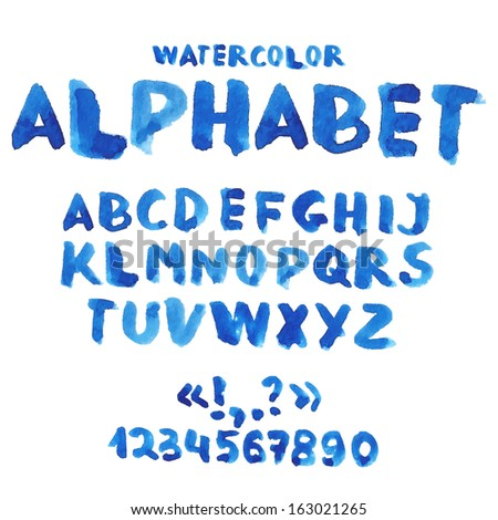 Handwritten watercolor alphabet with numbers and symbols. - stock photo