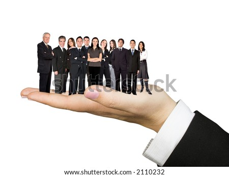 handy business team over a white background - stock photo