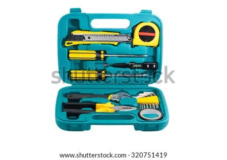 Handy tool box set isolated on white background - stock photo