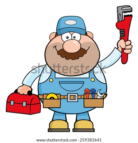 Handyman Cartoon Character With Wrench And Tool Box. Raster Illustration Isolated On White - stock photo