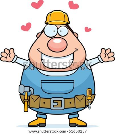 Handyman Hug - stock photo