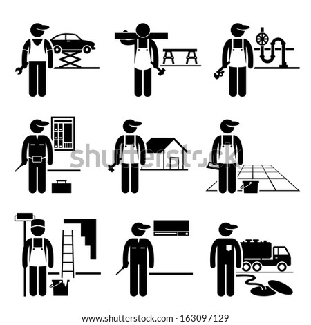 Handyman Labor Labour Skilled Jobs Occupations Careers - Car Mechanic, Carpenter, Plumber, Electrician, Roofer, Flooring, Painter, Air Conditioner Man, Septic Tank Service - Stick Figure Pictogram - stock photo