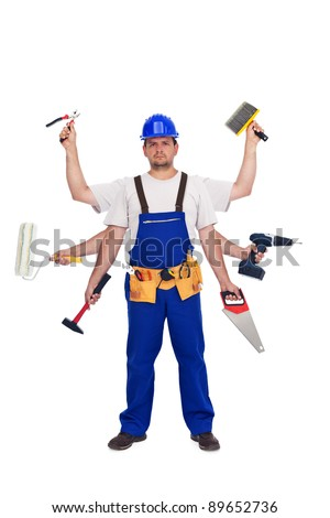 Handyman or worker - jack of all trades concept, isolated - stock photo
